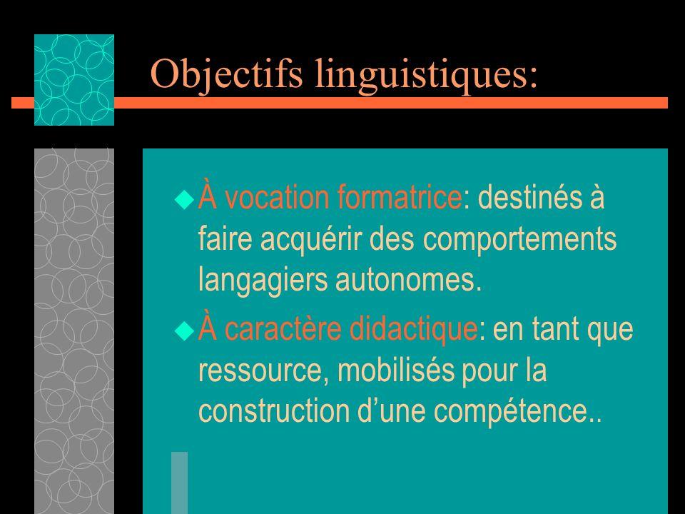 Objectifs linguistiques: