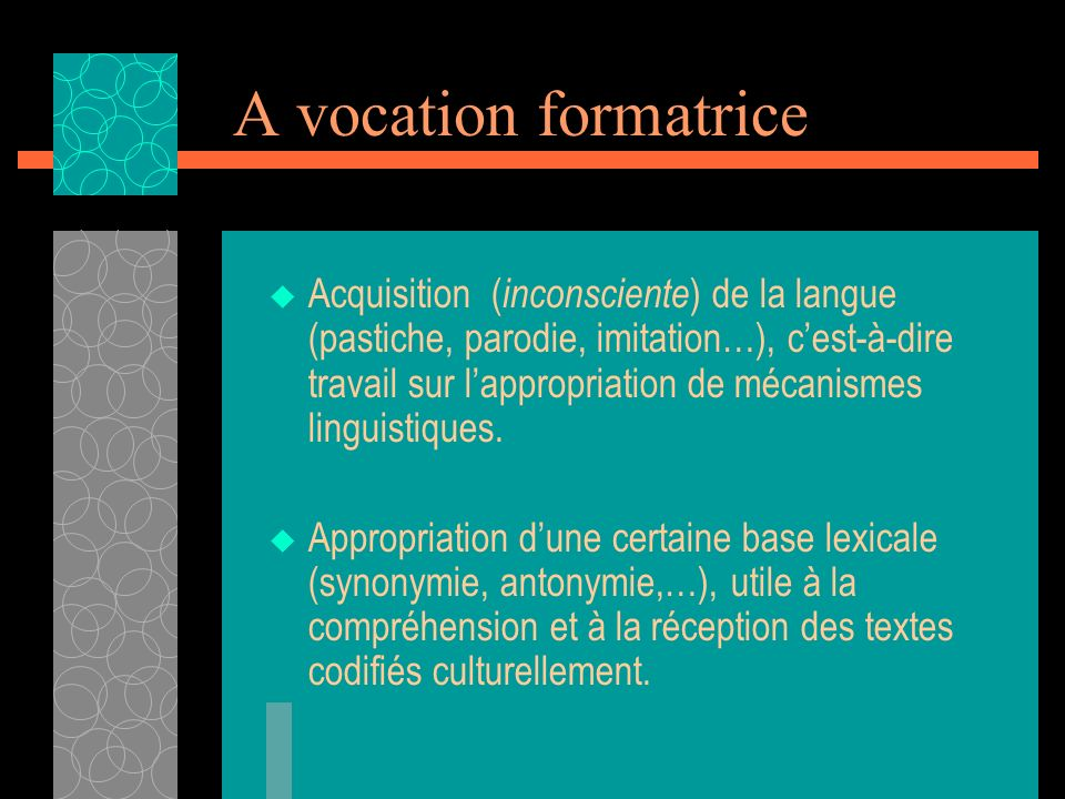 A vocation formatrice