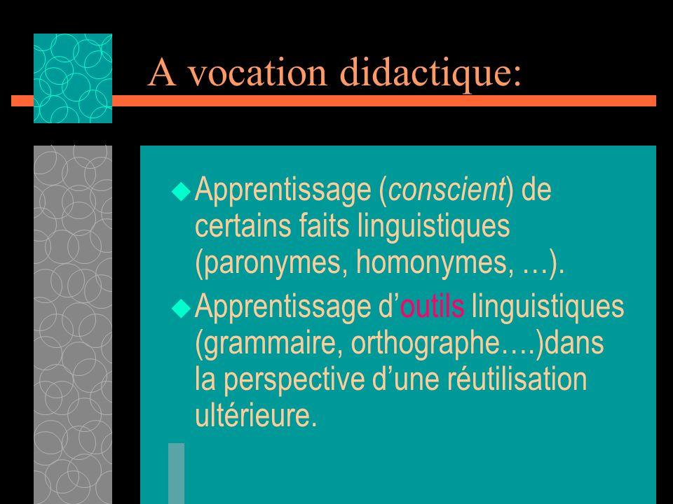 A vocation didactique: