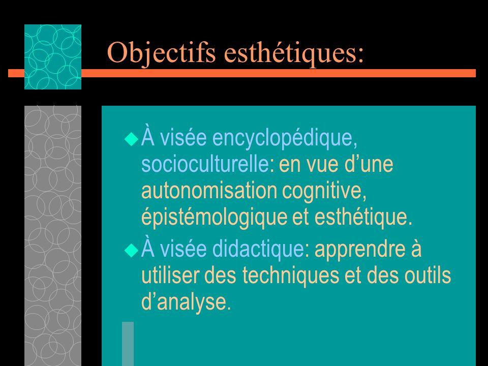 Objectifs esthétiques: