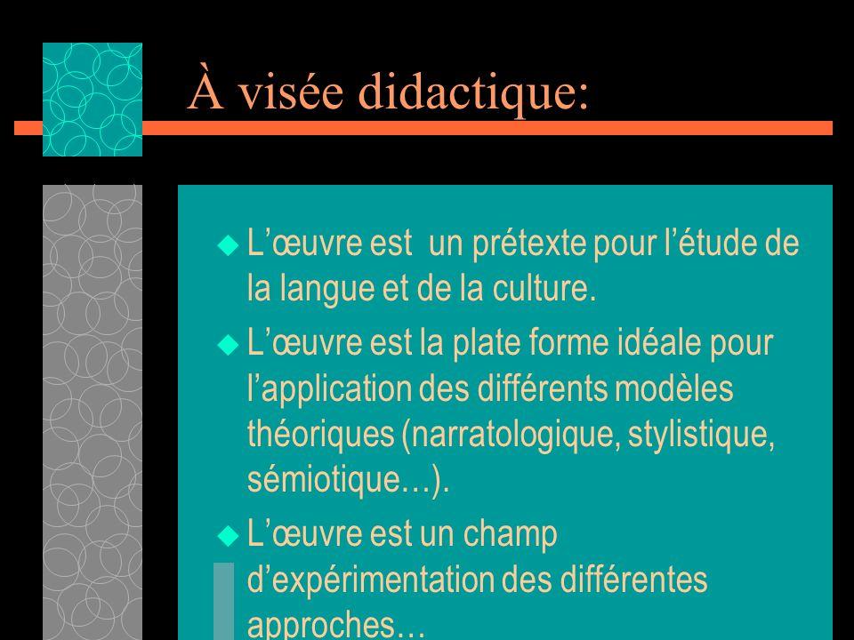 À visée didactique: L'œuvre est un prétexte pour l'étude de la langue et de la culture.