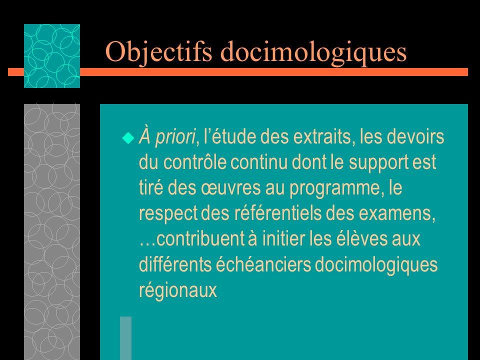 Objectifs docimologiques