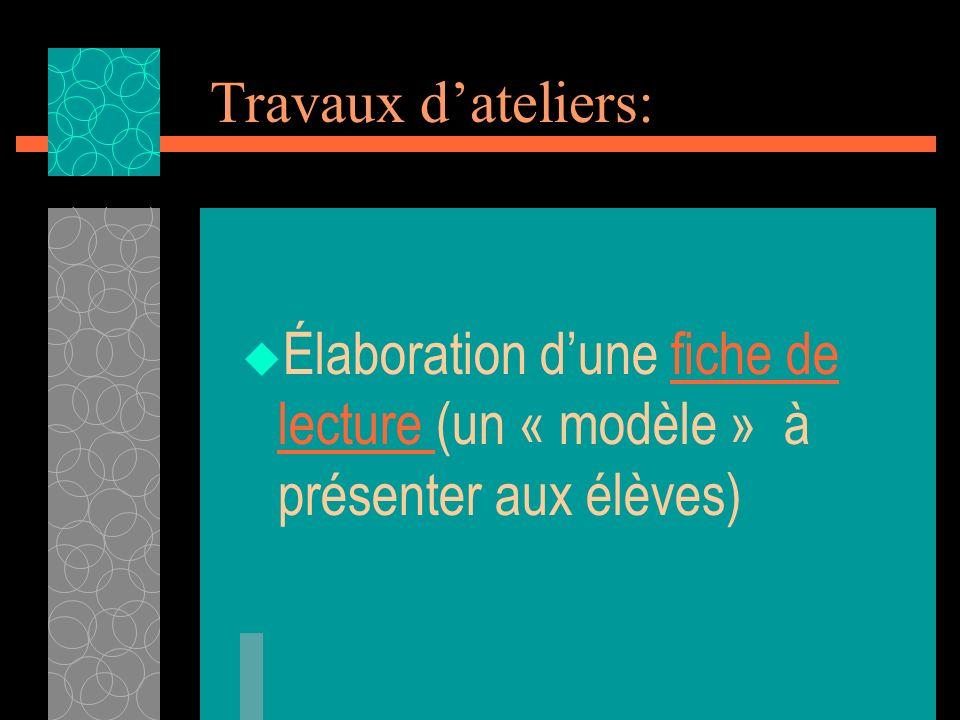 Travaux d'ateliers: Élaboration d'une fiche de lecture (un « modèle » à présenter aux élèves)