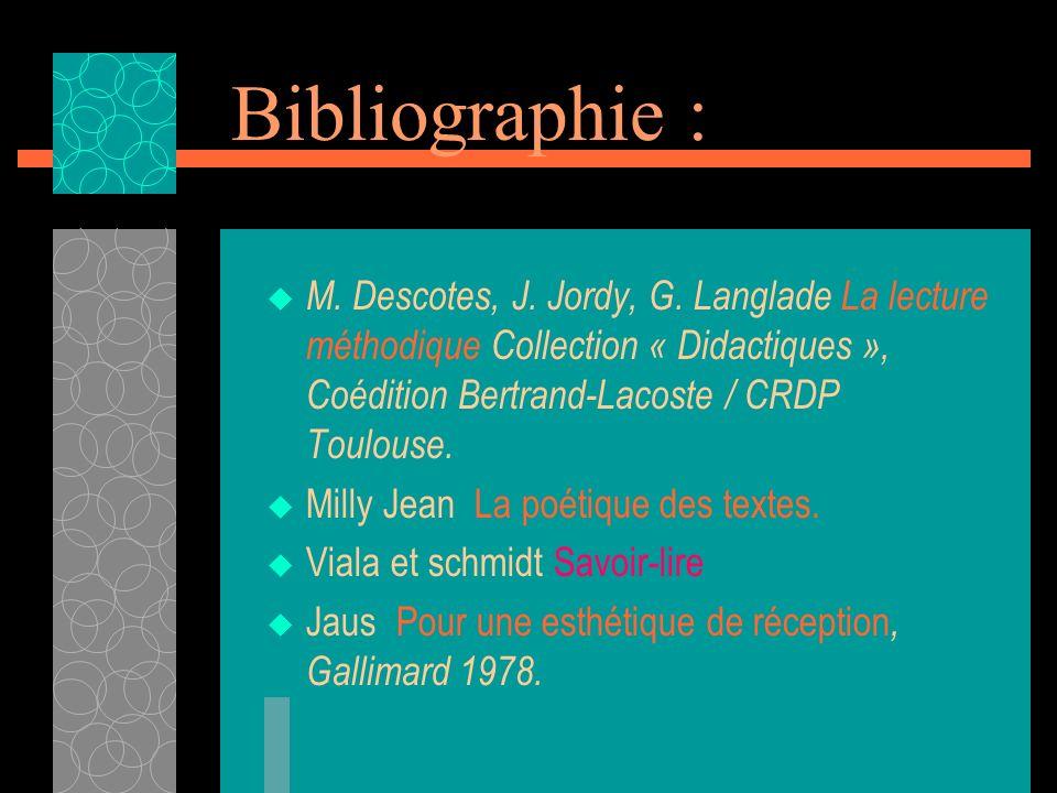 Bibliographie : M. Descotes, J. Jordy, G. Langlade La lecture méthodique Collection « Didactiques », Coédition Bertrand-Lacoste / CRDP Toulouse.