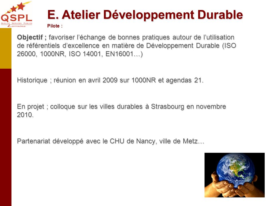 E. Atelier Développement Durable