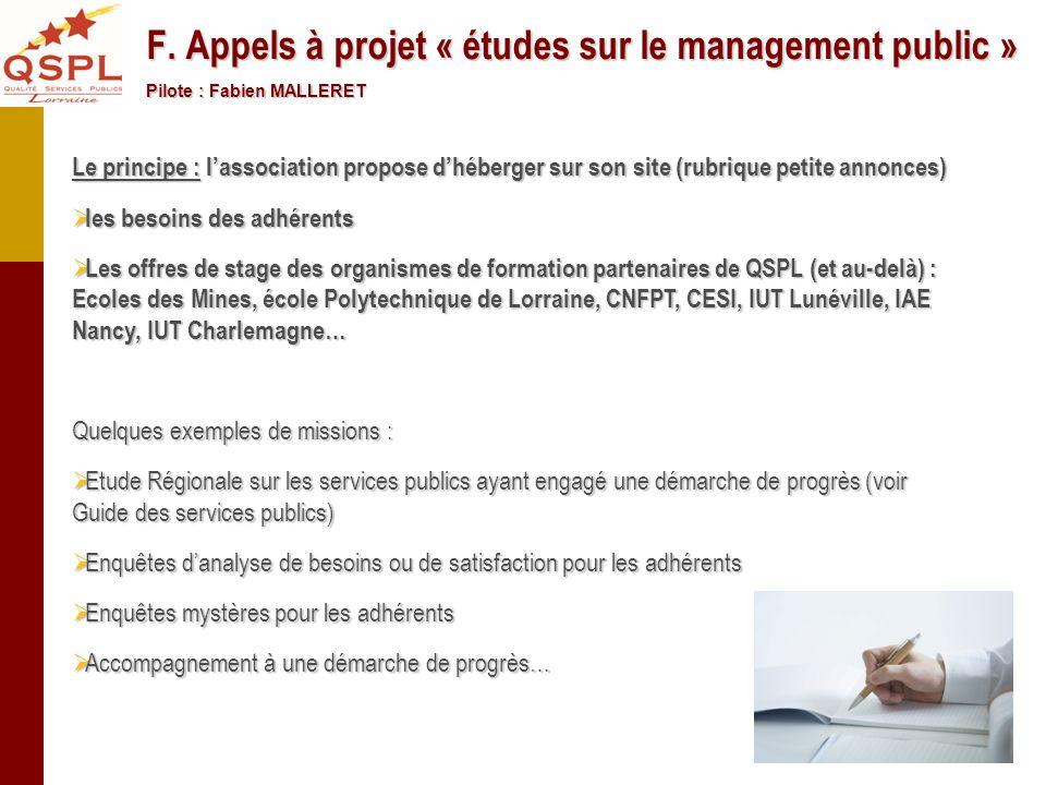 F. Appels à projet « études sur le management public »