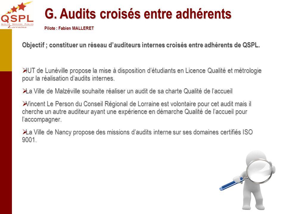G. Audits croisés entre adhérents