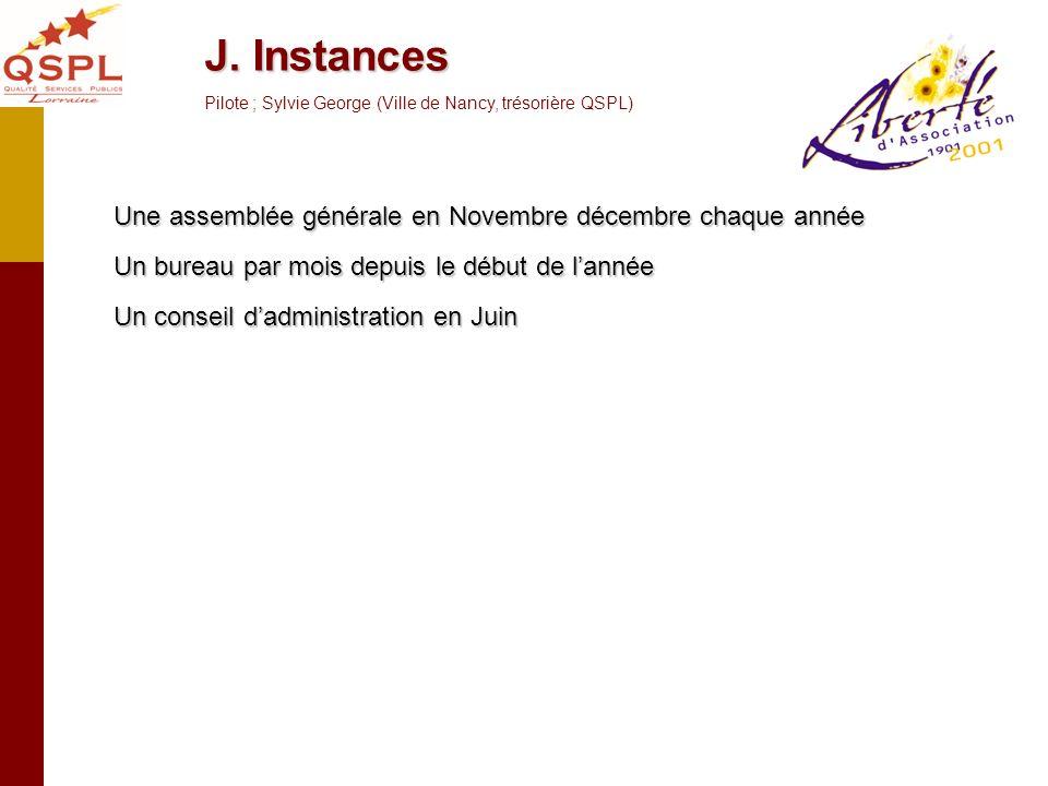 J. Instances Pilote ; Sylvie George (Ville de Nancy, trésorière QSPL)