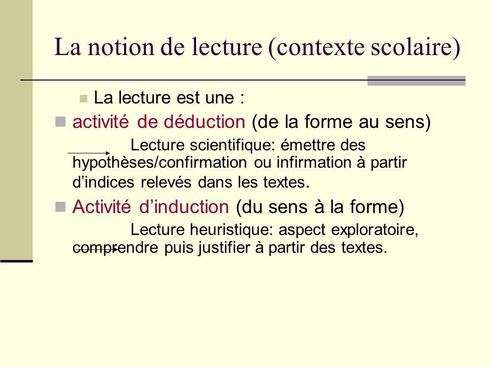 La notion de lecture (contexte scolaire)