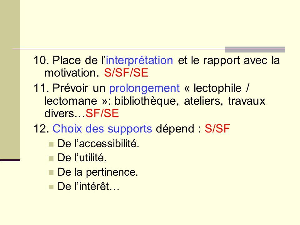 12. Choix des supports dépend : S/SF