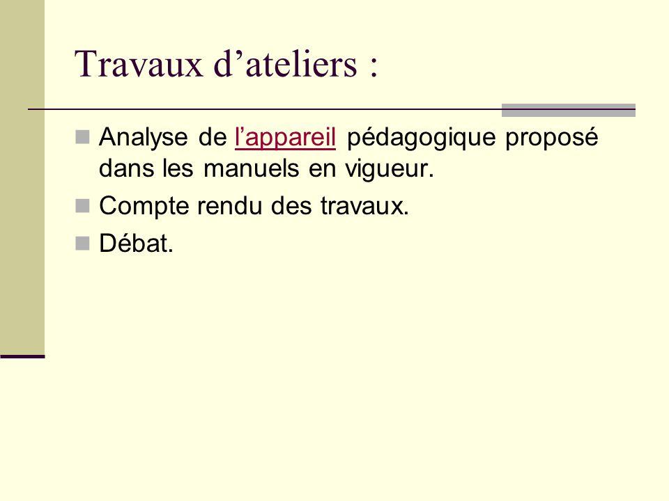 Travaux d'ateliers : Analyse de l'appareil pédagogique proposé dans les manuels en vigueur. Compte rendu des travaux.