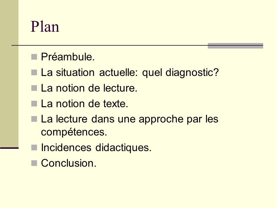 Plan Préambule. La situation actuelle: quel diagnostic