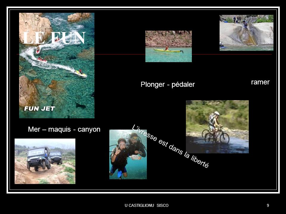 LE FUN ramer Plonger - pédaler Mer – maquis - canyon