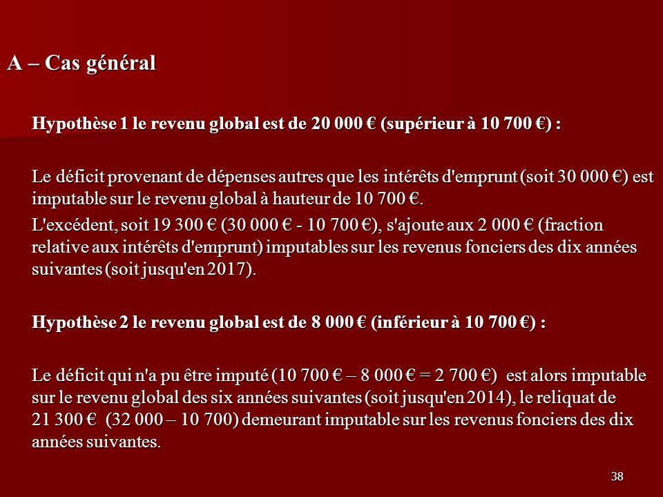 A – Cas général Hypothèse 1 le revenu global est de 20 000 € (supérieur à 10 700 €) :