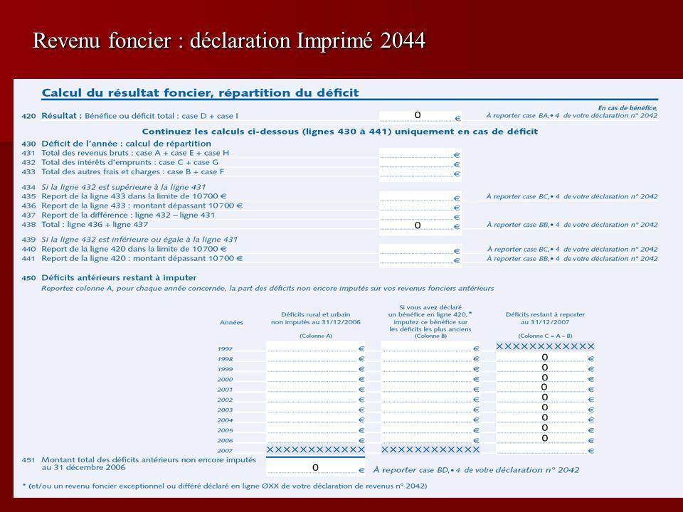 Revenu foncier : déclaration Imprimé 2044
