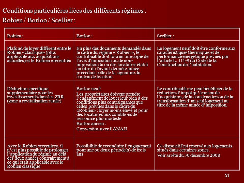 Conditions particulières liées des différents régimes :