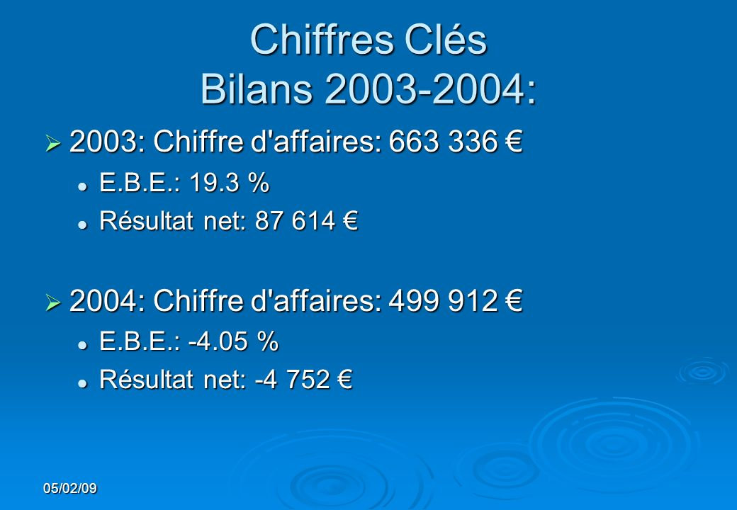 Chiffres Clés Bilans 2003-2004: