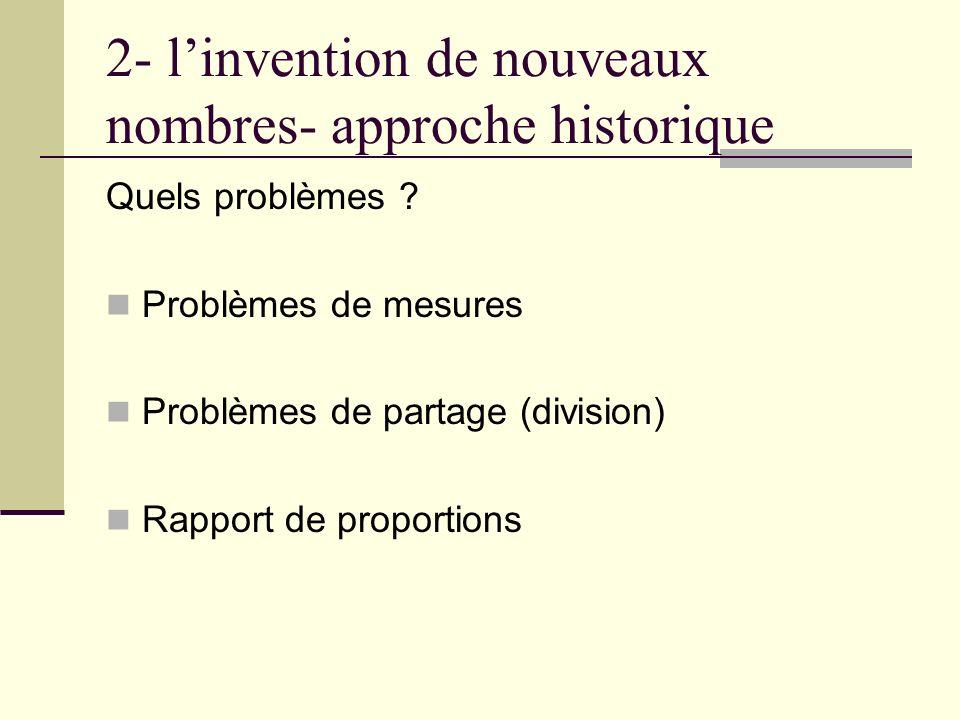 2- l'invention de nouveaux nombres- approche historique