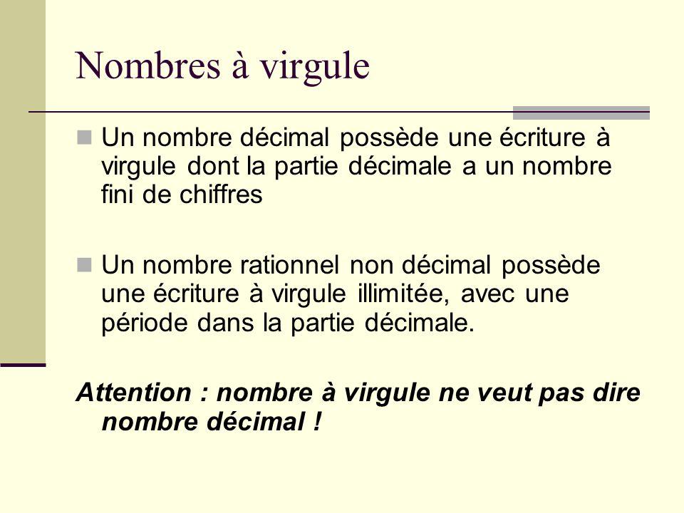 Nombres à virgule Un nombre décimal possède une écriture à virgule dont la partie décimale a un nombre fini de chiffres.