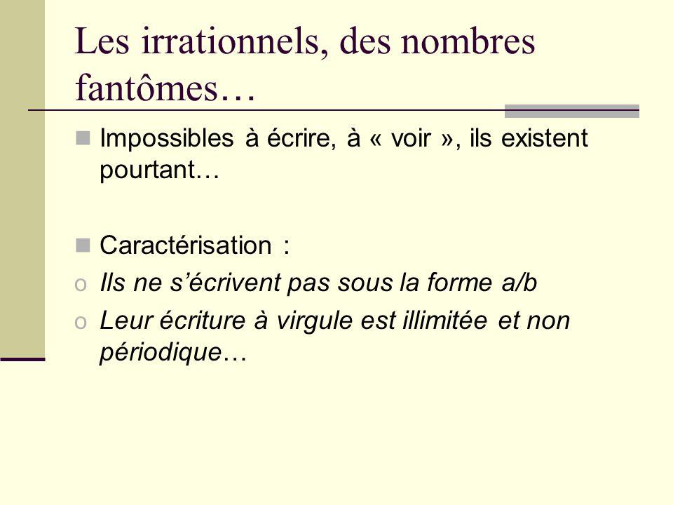 Les irrationnels, des nombres fantômes…