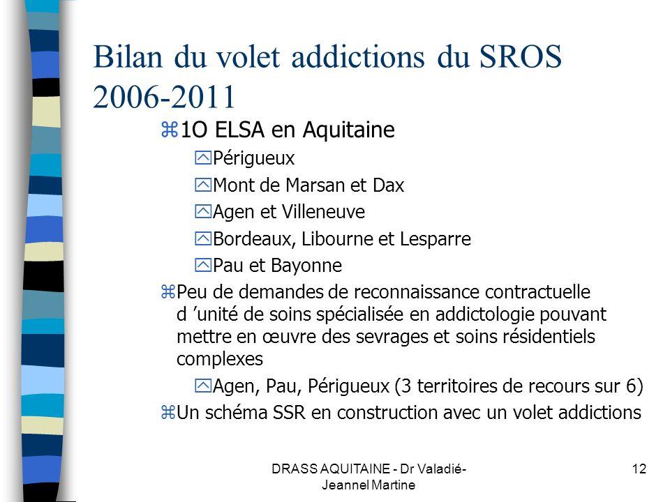 Bilan du volet addictions du SROS 2006-2011