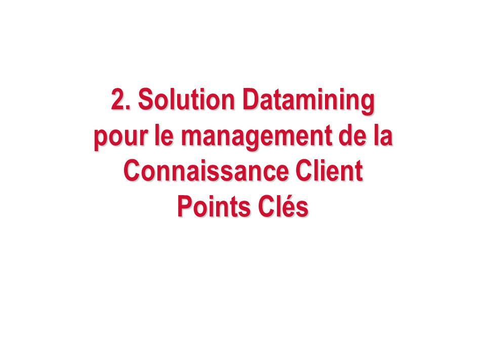 2. Solution Datamining pour le management de la Connaissance Client Points Clés