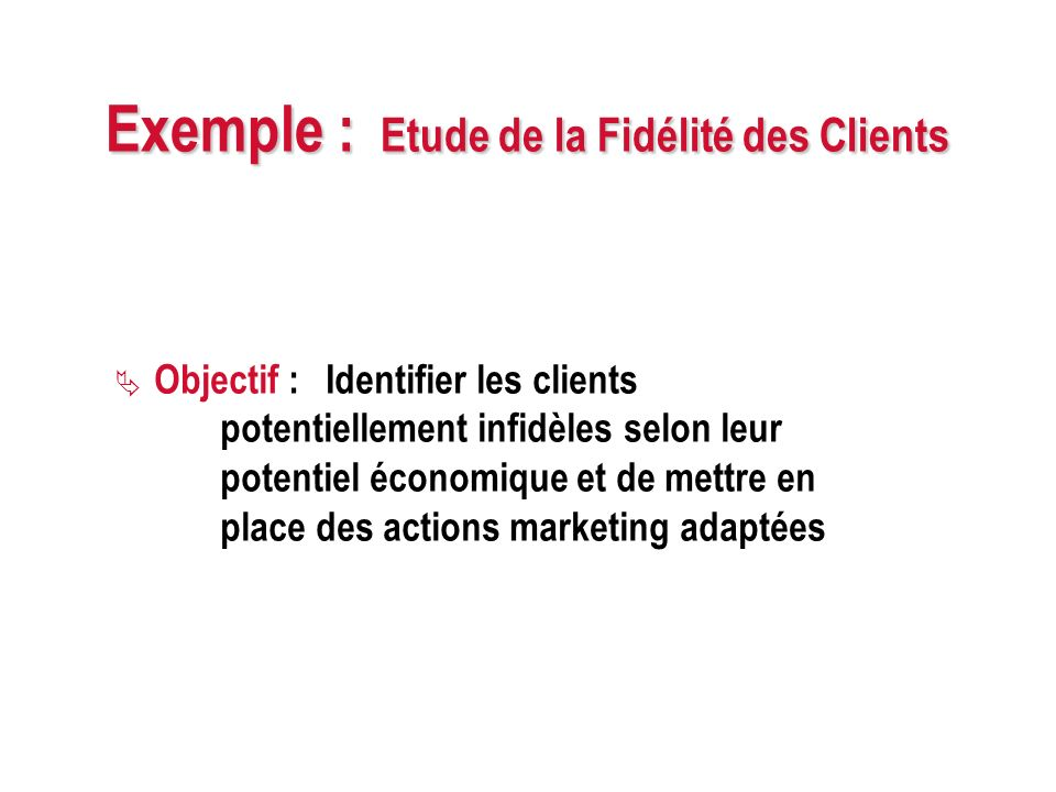 Exemple : Etude de la Fidélité des Clients