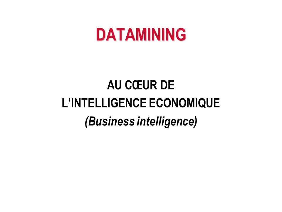 AU CŒUR DE L'INTELLIGENCE ECONOMIQUE (Business intelligence)