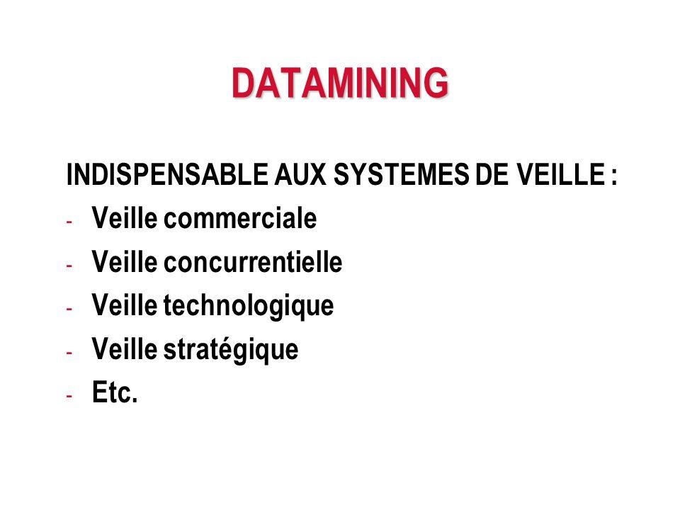 DATAMINING INDISPENSABLE AUX SYSTEMES DE VEILLE : Veille commerciale