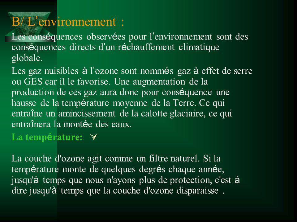 B/ L'environnement :Les conséquences observées pour l'environnement sont des conséquences directs d'un réchauffement climatique globale.