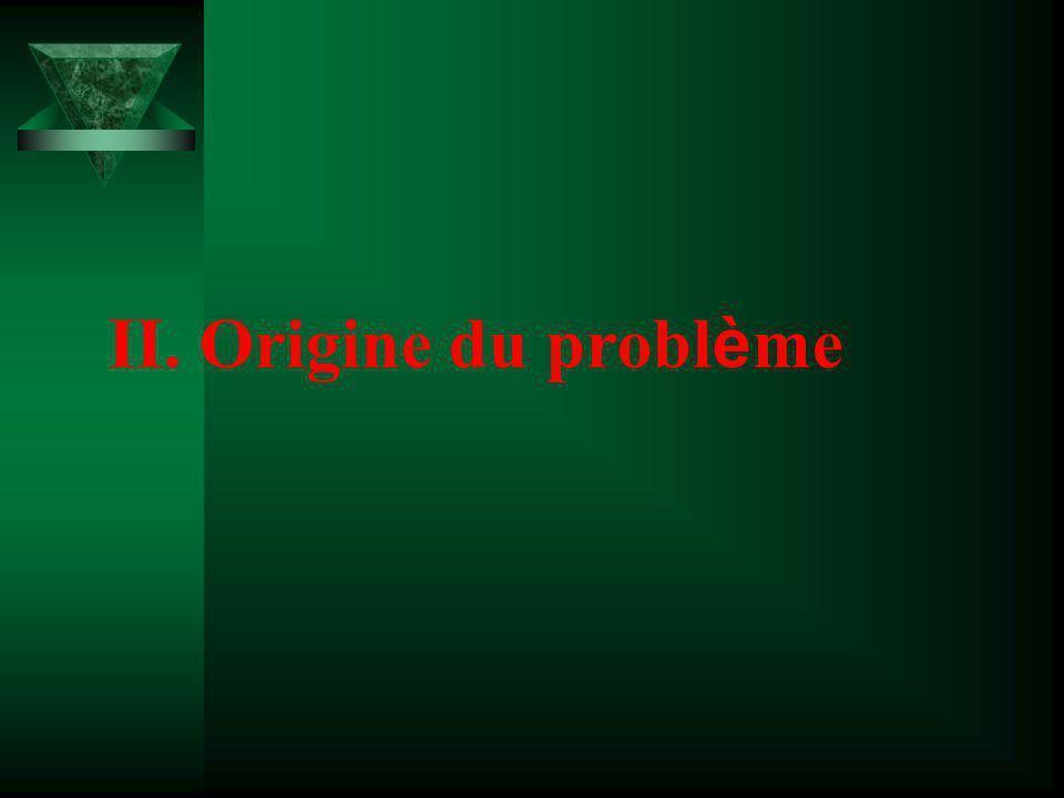 II. Origine du problème