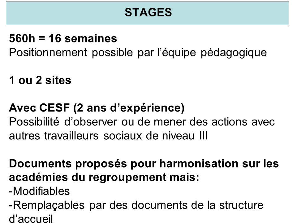 STAGES 560h = 16 semaines. Positionnement possible par l'équipe pédagogique. 1 ou 2 sites. Avec CESF (2 ans d'expérience)