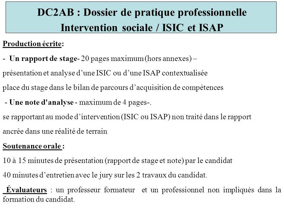 DC2AB : Dossier de pratique professionnelle
