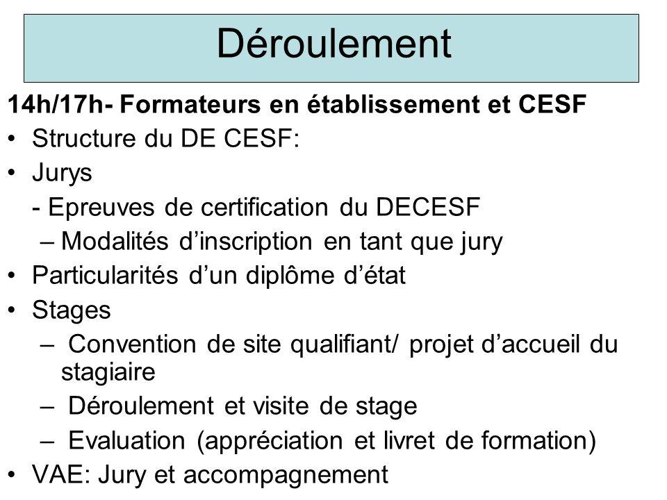 Déroulement 14h/17h- Formateurs en établissement et CESF