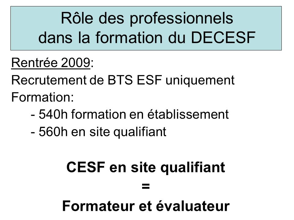 Rôle des professionnels dans la formation du DECESF