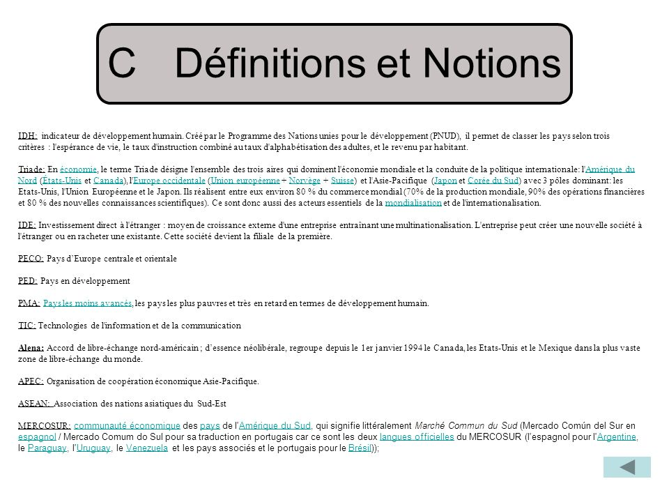 C Définitions et Notions