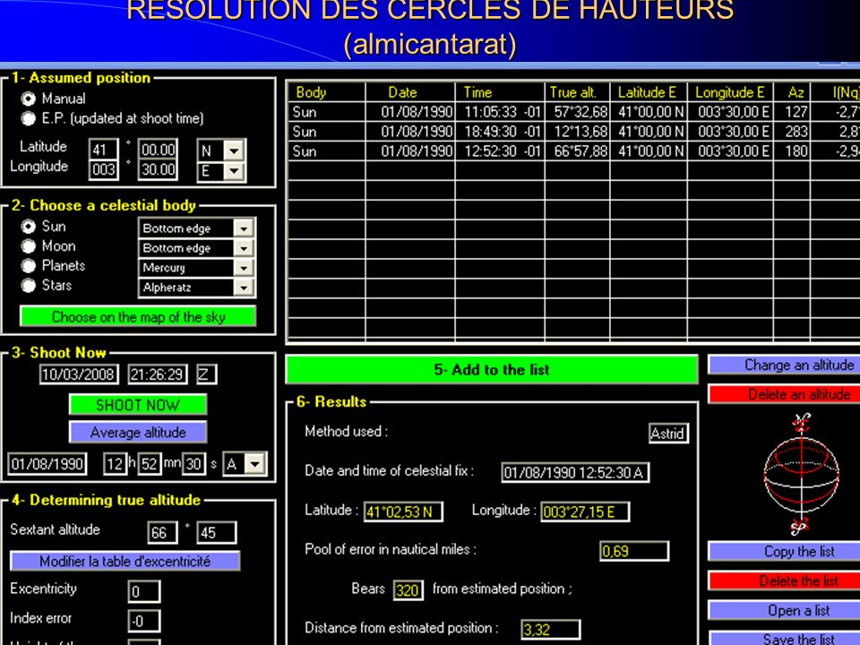 RESOLUTION DES CERCLES DE HAUTEURS (almicantarat)