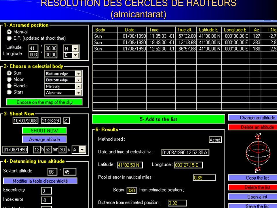 RESOLUTION DES CERCLES DE HAUTEURS (almicantarat)