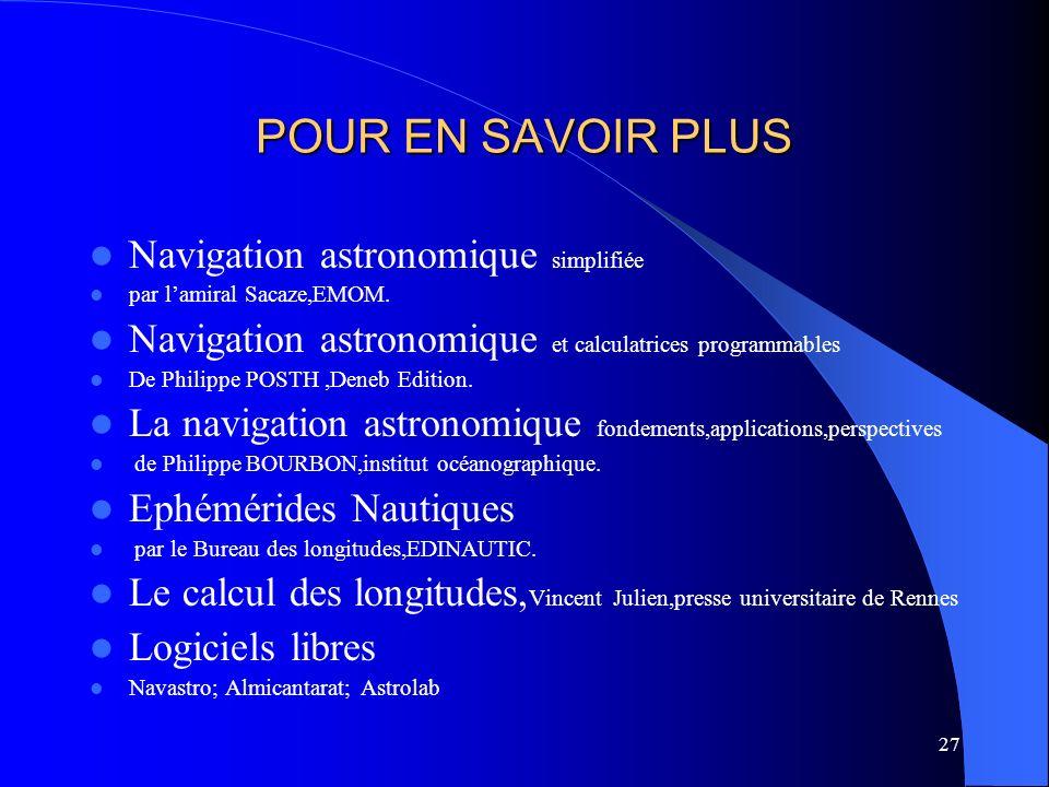 POUR EN SAVOIR PLUS Navigation astronomique simplifiée