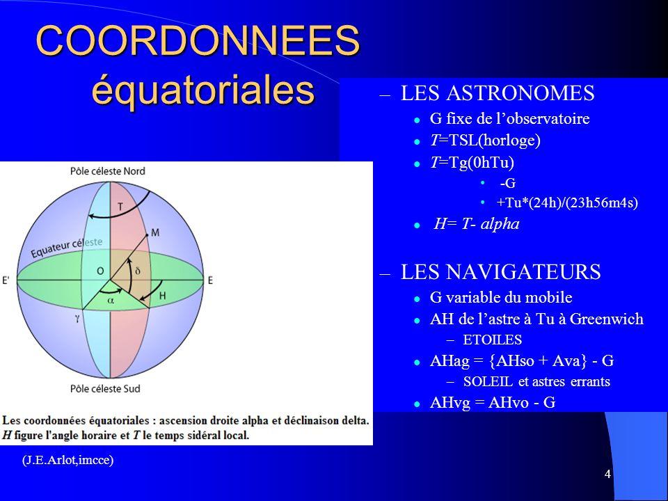COORDONNEES équatoriales