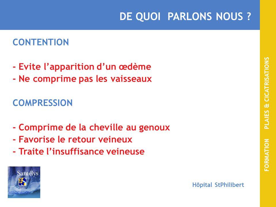 DE QUOI PARLONS NOUS CONTENTION - Evite l'apparition d'un œdème