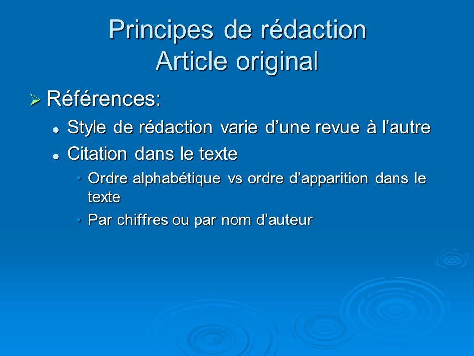Principes de rédaction Article original