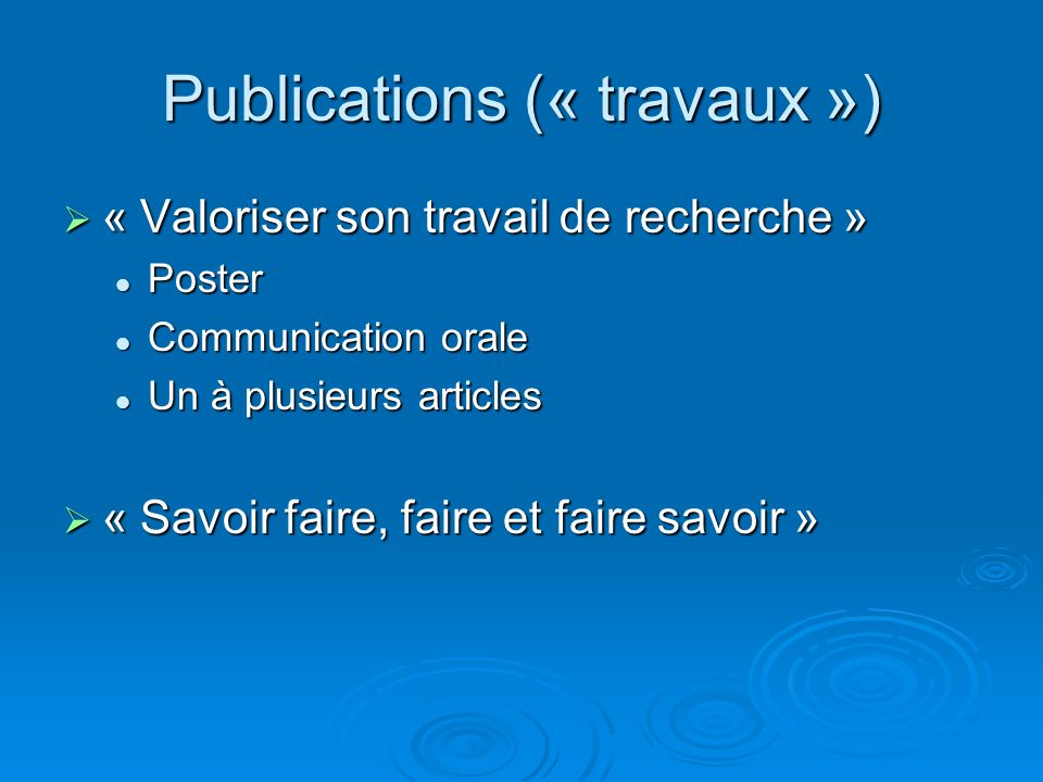 Publications (« travaux »)