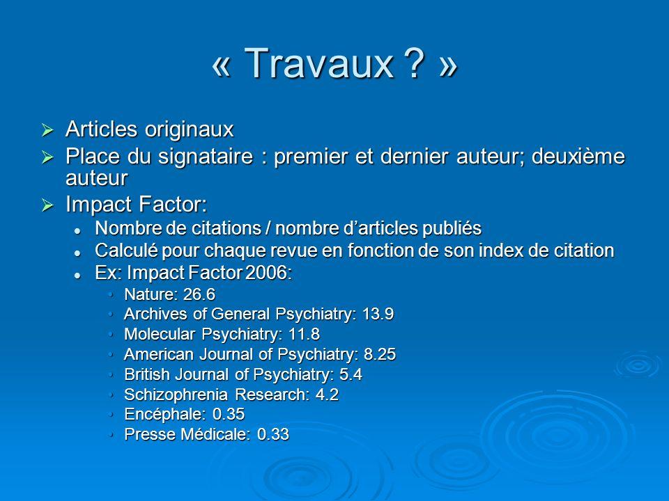 « Travaux » Articles originaux