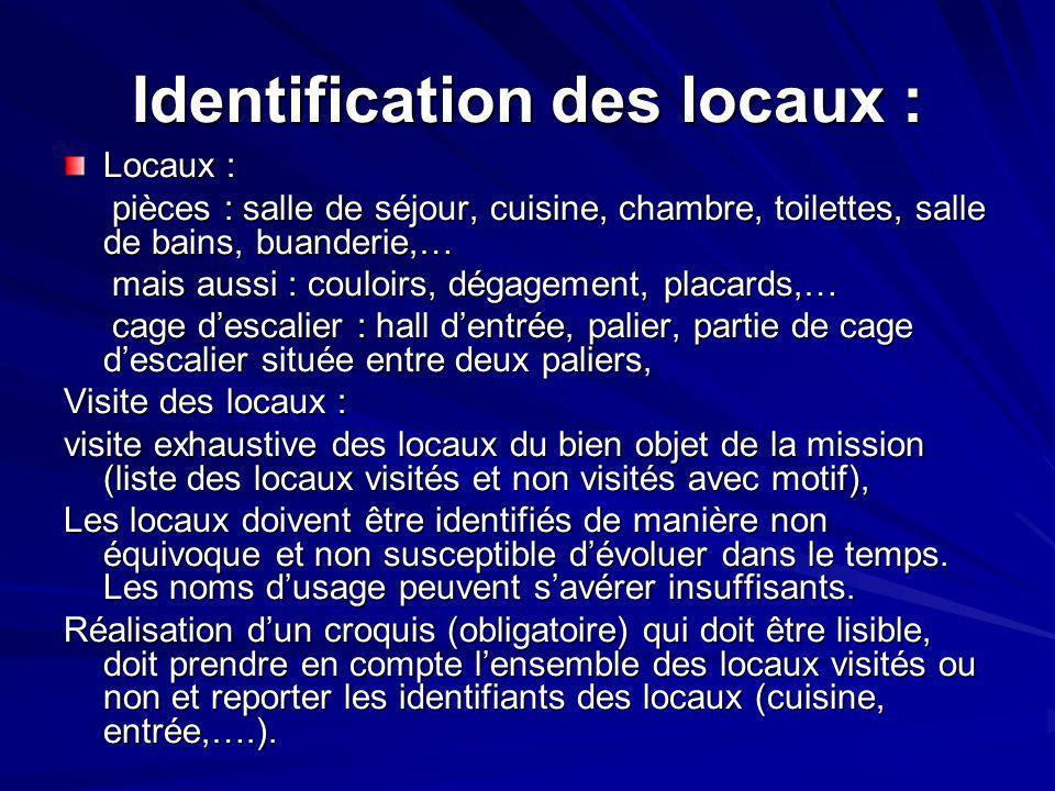 Identification des locaux :
