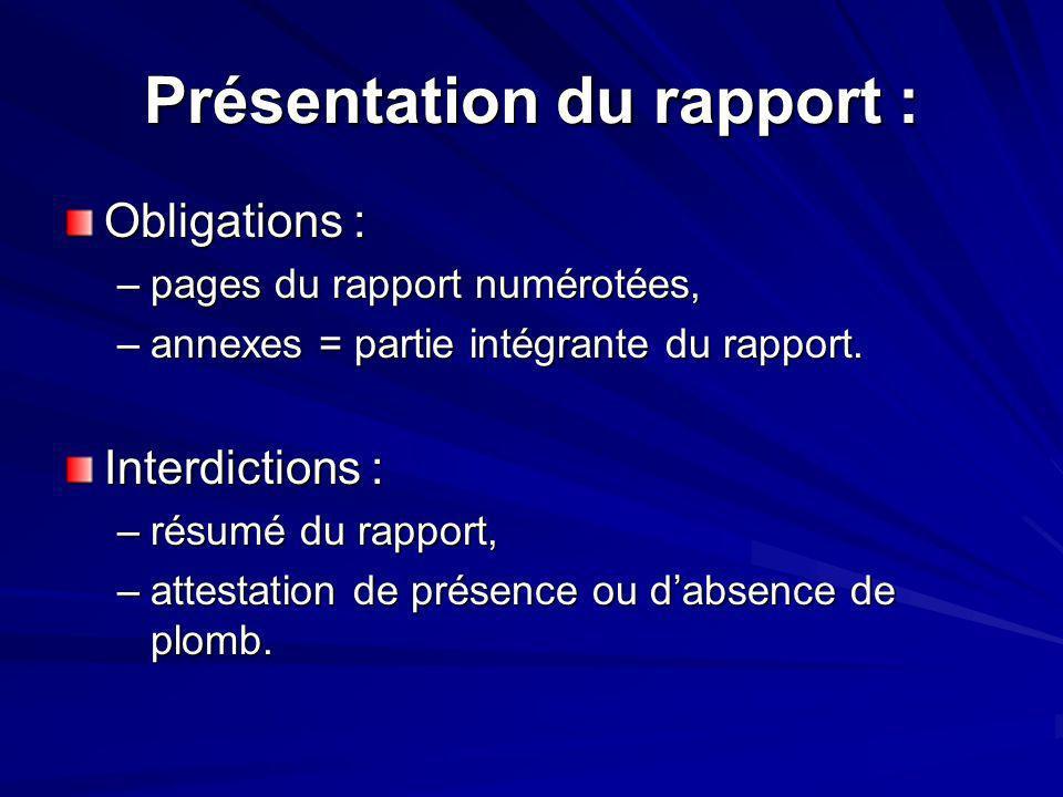 Présentation du rapport :