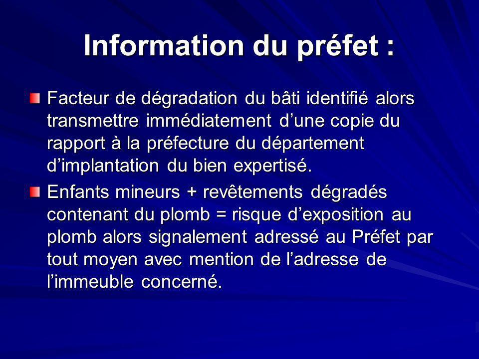 Information du préfet :