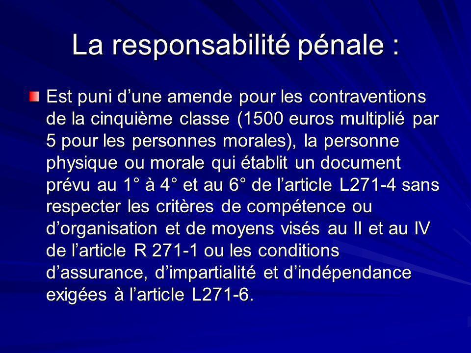 La responsabilité pénale :