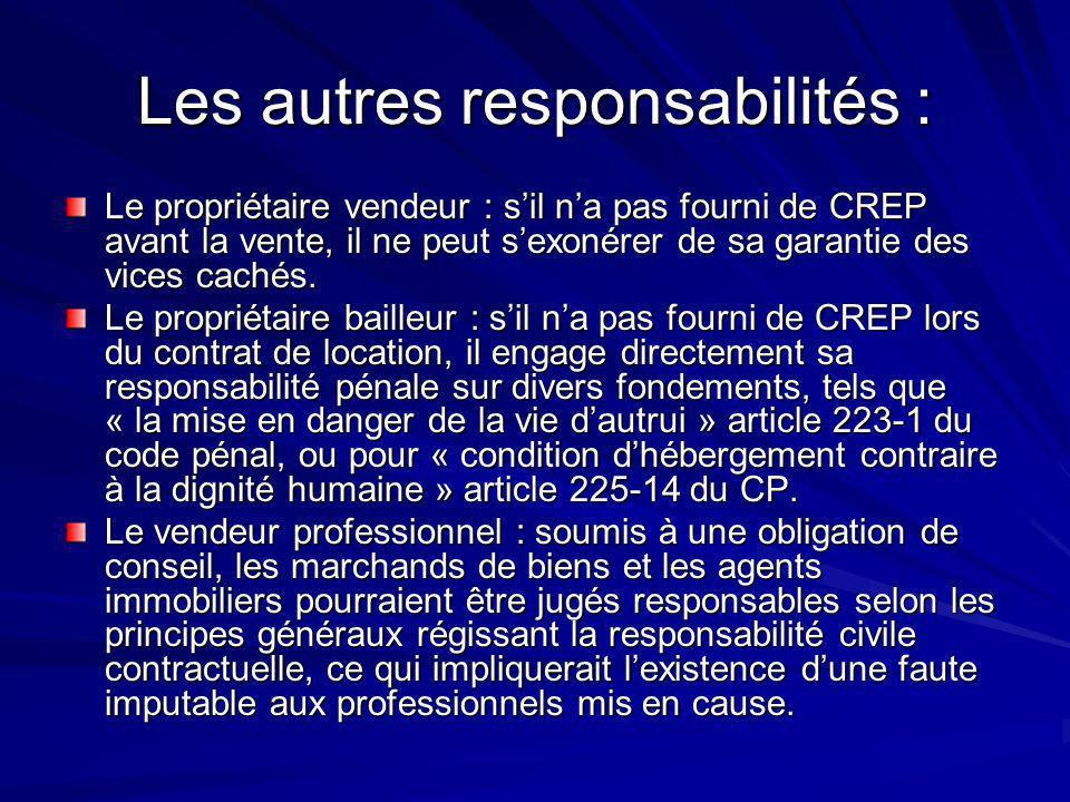 Les autres responsabilités :
