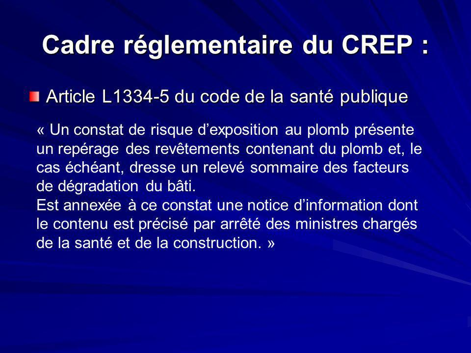 Cadre réglementaire du CREP :